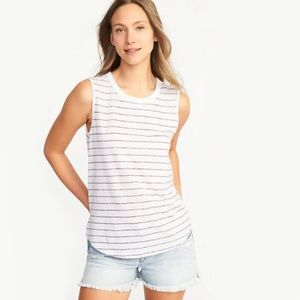 Old Navy Relaxed Linen Tank Top Red & White Stripe